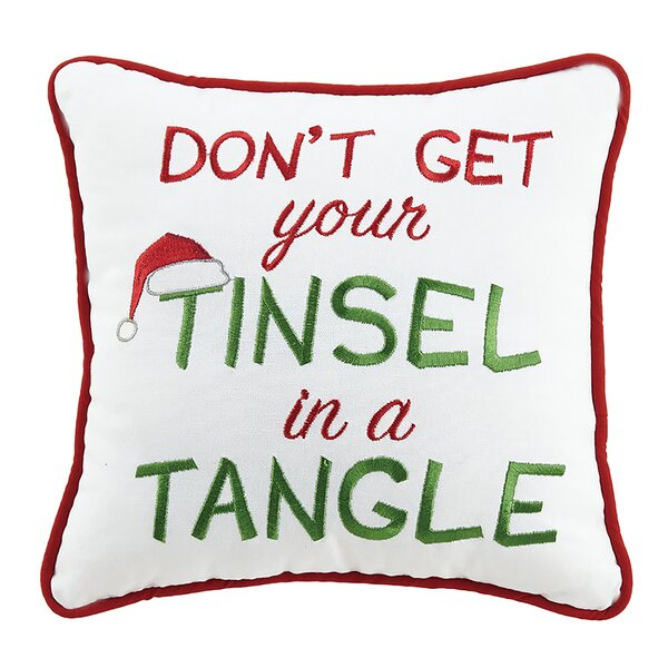 Tinsel in a Tangle Holiday 100% Cotton Throw Pillow by The Holiday Aisle